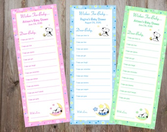 Baby Snoopy Baby Shower Wish Cards