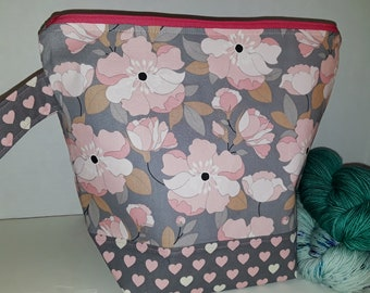 Large or Medium Size Magnolia Pink & White Blossoms, Pink Hearts, Spring Inspired WIP Tote Bag, Wedge Bag, Choice of Zipper or Drawstring