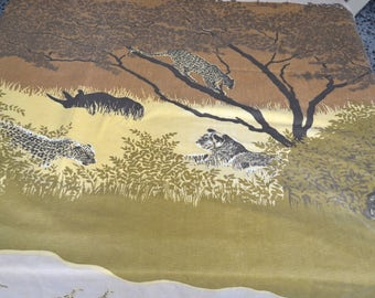 Vintage Bed Sheet - African Animals Landscape - Twin Fitted