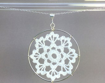 Scallops doily necklace, white silk thread, sterling silver