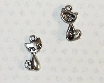 Lot 10 silver metal cat charms