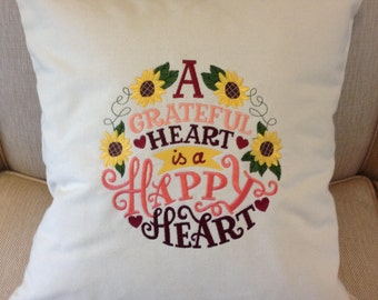 "Embroidered Pillow - ""A Grateful Heart Is A Happy Heart"", Beige, Cotton Canvas."