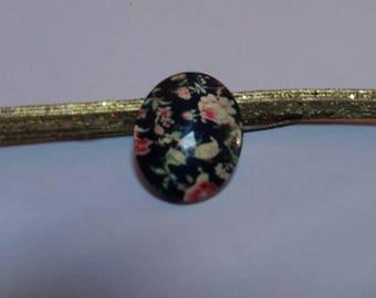 Black flower cabochon glass oval 18 x 25