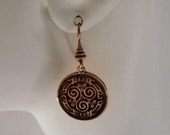 Bronze Triskele Earrings Celtic Earrings Tribal Triskele Made in Montana Fine Jewelry Gift Rustic Jewelry Triskelion Earrings Triple Spiral