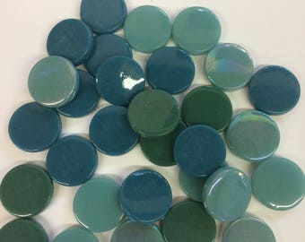 Teal Mix 18mm Penny Round Tile-75g//Teal Round Tile//Discount Round tile