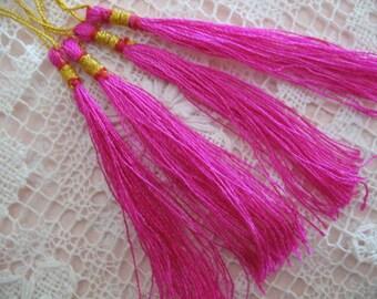 12  FUCHSIA Silk TASSELS jewelry making