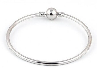 """Bangle silver plated lobster clasp clip for """"European"""" beads (hole)"""