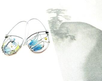 Close Up Dragonfly Earrings. Hoops Earrings. Colorful Silver Earrings With Dragonfly. Dragonfly Jewelry. Unusual Earrings. Oxidized Earrings