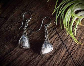 Dendrite Agate Earrings, Metalsmith Dangle Earrings, Bezel Set Stone Earrings, Black and White Agate Earrings, Dendrite Opal, Merlinstone