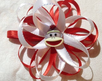 Red and White Sockmonkey bow