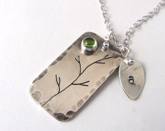 Custom Birthstone Necklace with Initial Leaf Charm, tree necklace monogram