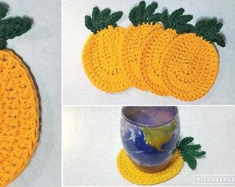 Pineapple Crochet Coaster Set