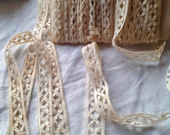 Antique Lace / Vintage Lace Trim, Cream Silk Cotton Lace, Dolls Bears & Vintage Wedding Something Old 5yd