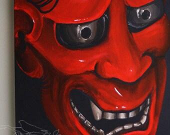 Red Hannya Mask (original acrylic)