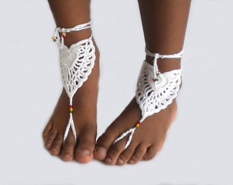 Beach wedding barefoot sandals, soleless shoes, crochet barefoot sandals, crochet heart
