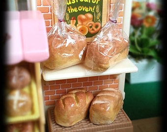 Miniature Bread Loaf for Dollhouse Roombox Sylvanian Families, Petite Pastry Bakery Breakfast Dolls Fake food DIY Craft (see Item Details)