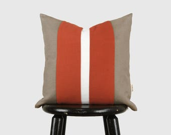 16x16 Decorative Color Block Pillow Case | Taupe, White, Terracotta Orange Accent Pillows | Geometric Striped Colorblock Throw Cushion Cover