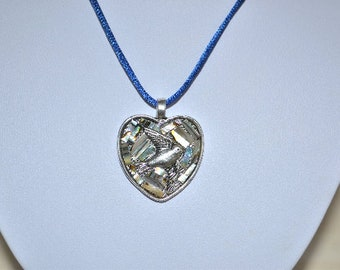 heart and Dove abalone Pearl pendant