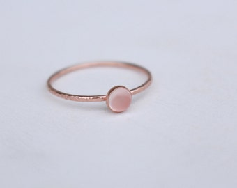 14K Rosé Gold stackable Ring with Chalcedony