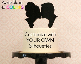 YOUR SILHOUETTES on a  Wedding Cake Topper, Silhouette Cake Topper, Custom Cake Topper, Personalized Cake Topper