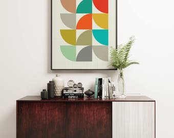 MCM02 - Mid Century Modern Geometric Colourful Circles Graphic Design Art Print Poster