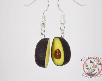 Avocado Earrings dangle and drop - HASS variety- Tiny Miniature Food Jewelry