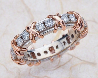 14k Rose Gold And White Gold Eternity Band Wedding Anniversary Band