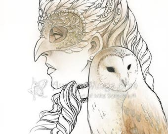 Digital Stamp Instant Download - Owl Masquerade - Masked Woman with Barn Owl - Fantasy Line Art for Cards & Crafts by Mitzi Sato-Wiuff