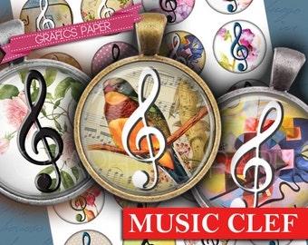 "Music Clef - digital collage sheet - td209  1.5"", 1.25"", 30mm, 1 inch - Printable cabochon, jewelry Instant Download Glass Pendant, magnets"
