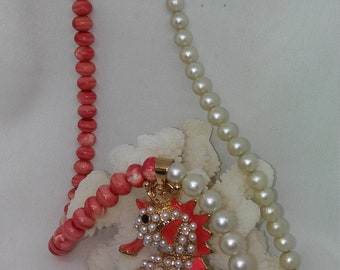 Jewelry, Artisan Faux Pearl and Painted Coral Necklace w/Seahorse Pendant, Handmade and Designed, Spring Colors