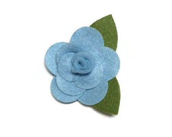 Small Baby Blue Rose Dog Collar Flower Removable