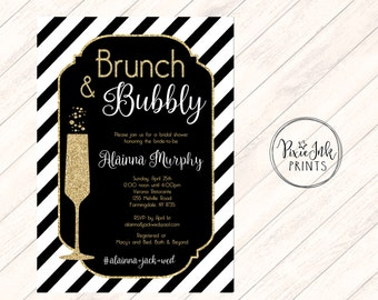 Brunch & Bubbly Bridal Shower Invite, Black and Gold Shower Invitation, Bubbly Bridal Shower Invite, Bridal Shower Printable, Gold Bridal