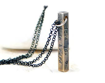 Vertical Bar Necklace. Personalized Mens Necklace. Family Necklace. Custom Necklace. Engraved Necklace. Sterling Silver Chain. Gift For Him