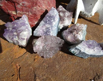 Six Amethyst Crystal Clusters~Druzy~Jewelry Supply~Sobriety~Calmness~#8