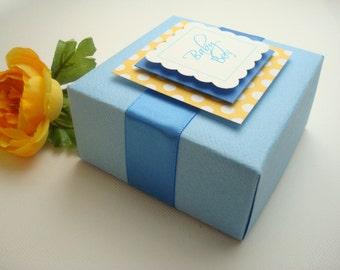 Boîtes personnalisée, bleu et jaune, lot de 10