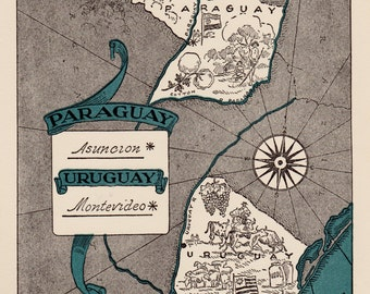 Vintage 1940s PARAGUAY Picture Map of URUGUAY Print Travel Map Gallery Wall Art Gift for Wedding Birthday Gift