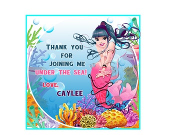 """Mermaid -Under the Sea 2.5"""" Custom PRINTABLE Thank you Tags- Personalized Square Thank you Tags-Stickers- Printable tag-Digital file"""