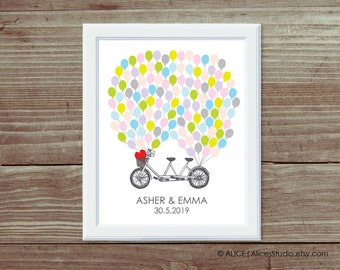 Personalised Wedding Tandem Bicycle Guest book Poster Print - Fingerprints or Balloons - Canvas, Paper or Digital Printable