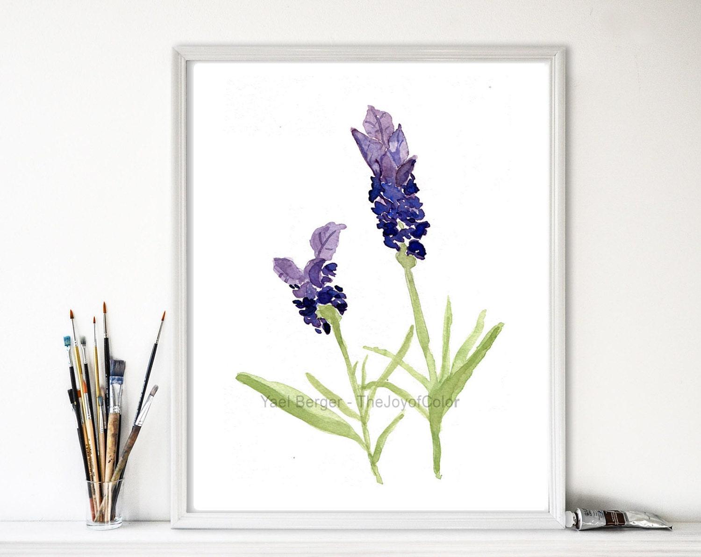 Kunstdruck Lavendel Lavendel-Aquarell botanische Druck