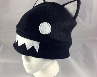 Black Cat Hat, Fleece Snow Hat, Beanie