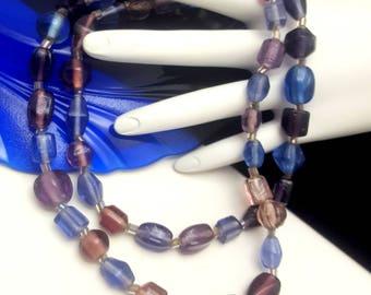 Vintage Purple Blown Glass Beaded Necklace