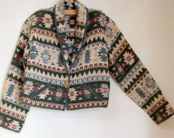 Vintage Southwestern Cropped Jacket with Pockets and Collar