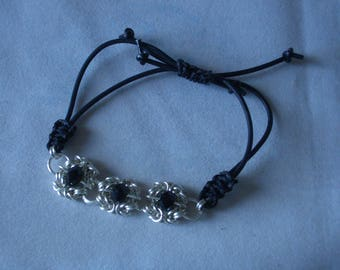Black crystal silver plated Romanov Byzantine and Buna cord bracelet