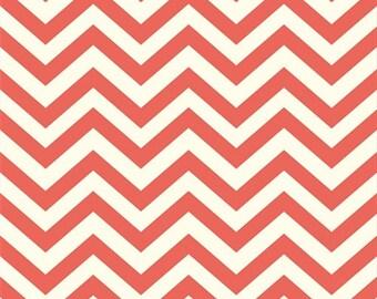 Organic Coral Chevron Fabric - Birch Mod Basics 1/2 Yard