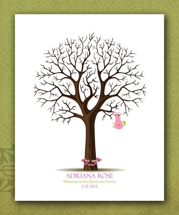 items similar to custom baby shower fingerprint tree personalized
