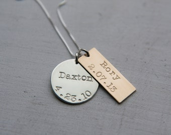 Mixed Metal Personalized Necklace, Sterling Silver & Gold, Kids Name Birthday Jewelry, Family Necklace, Custom Birthdate Necklace, Mom
