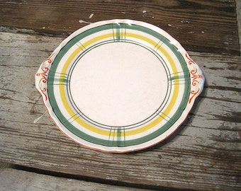 Green and Yellow Cake Plate/Platter Made in Japan