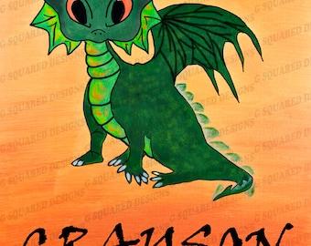 Dragon Art Nursery Wall Decor Download, Printable Baby Room Decor, Digital Baby Dragon Art, Animal Wall Art For Baby's Room, Gift for Babies