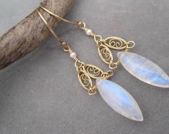 Fiery Moonstone Earrings - Gold Filigree - Special Occasion Earrings - Rainbow Moonstone - Dangle - Chandelier