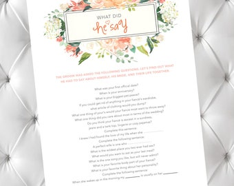 What Did He Say / Bachelorette Game / Bridal Shower Game / What He Said / Groom Answers / About His Bride / Groom Questions / About a Bride